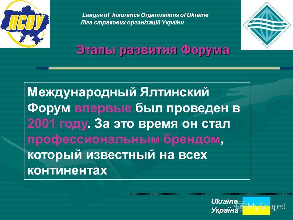 3 Этапы развития Форума League of Insurance Organizations of Ukraine Ліга страхових організацій України Ukraine Україна Международный Ялтинский Форум впервые был проведен в 2001 году. За это время он стал профессиональным брендом, который известный н
