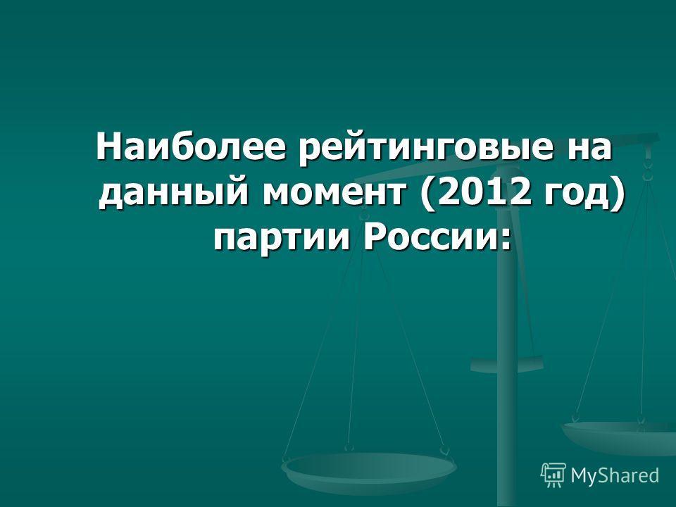 Наиболее рейтинговые на данный момент (2012 год) партии России: Наиболее рейтинговые на данный момент (2012 год) партии России: