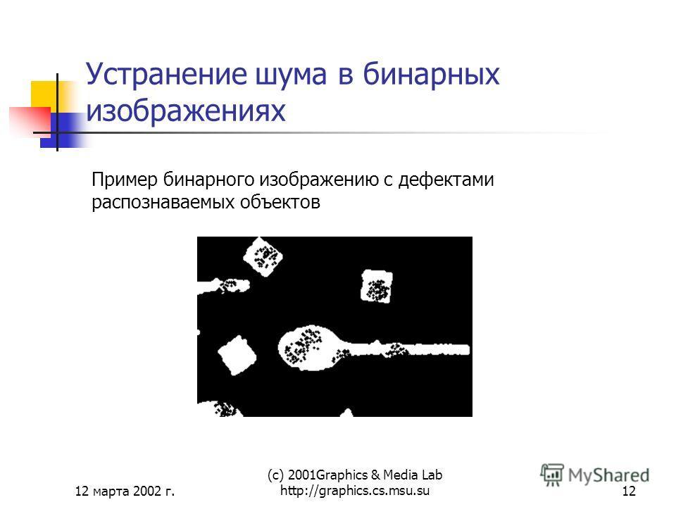 12 марта 2002 г. (с) 2001Graphics & Media Lab http://graphics.cs.msu.su12 Устранение шума в бинарных изображениях Пример бинарного изображению с дефектами распознаваемых объектов