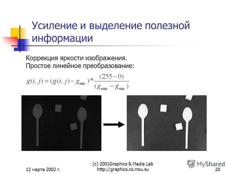 12 марта 2002 г. (с) 2001Graphics & Media Lab http://graphics.cs.msu.su20 Усиление и выделение полезной информации Коррекция яркости изображения. Простое линейное преобразование: