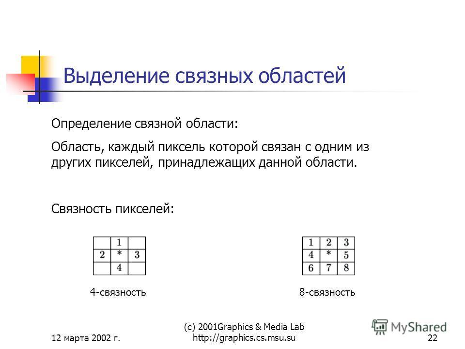 12 марта 2002 г. (с) 2001Graphics & Media Lab http://graphics.cs.msu.su22 Выделение связных областей Определение связной области: Область, каждый пиксель которой связан с одним из других пикселей, принадлежащих данной области. Связность пикселей: 4-с