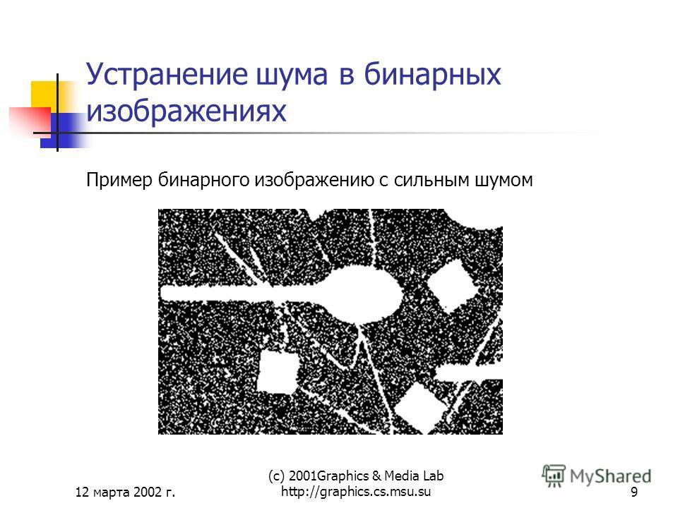 12 марта 2002 г. (с) 2001Graphics & Media Lab http://graphics.cs.msu.su9 Устранение шума в бинарных изображениях Пример бинарного изображению с сильным шумом