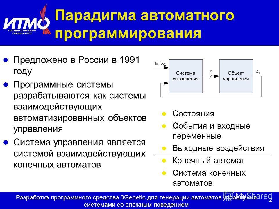 2 Разработка программного средства 3Genetic для генерации автоматов управления системами со сложным поведением Парадигма автоматного программирования Предложено в России в 1991 году Программные системы разрабатываются как системы взаимодействующих ав