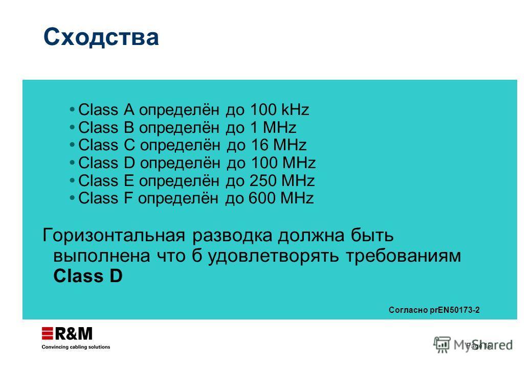 Page 16 Сходства Class A определён до 100 kHz Class B определён до 1 MHz Class C определён до 16 MHz Class D определён до 100 MHz Class E определён до 250 MHz Class F определён до 600 MHz Горизонтальная разводка должна быть выполнена что б удовлетвор