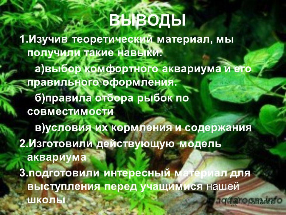 Правила обращения с аквариумными рыбами: Не перекармливай Следи за здоровьем Не меняй температуру воды Не трогай руками Люби их