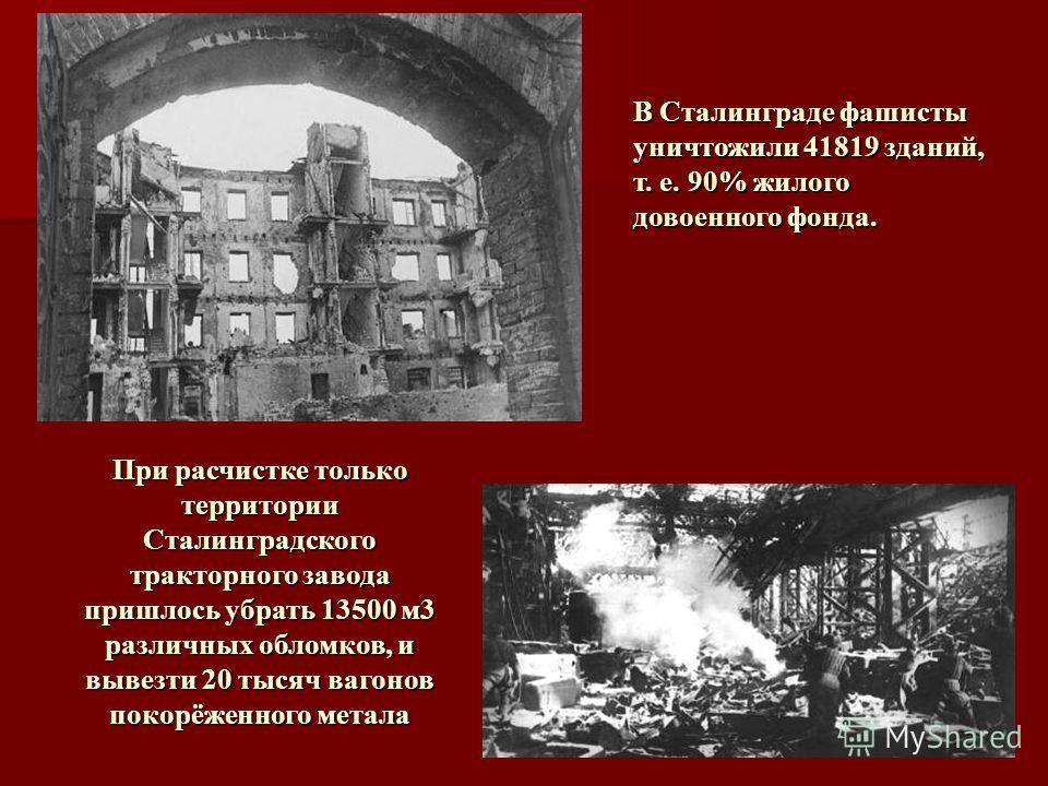 В Сталинграде фашисты уничтожили 41819 зданий, т. е. 90% жилого довоенного фонда. При расчистке только территории Сталинградского тракторного завода пришлось убрать 13500 м3 различных обломков, и вывезти 20 тысяч вагонов покорёженного метала