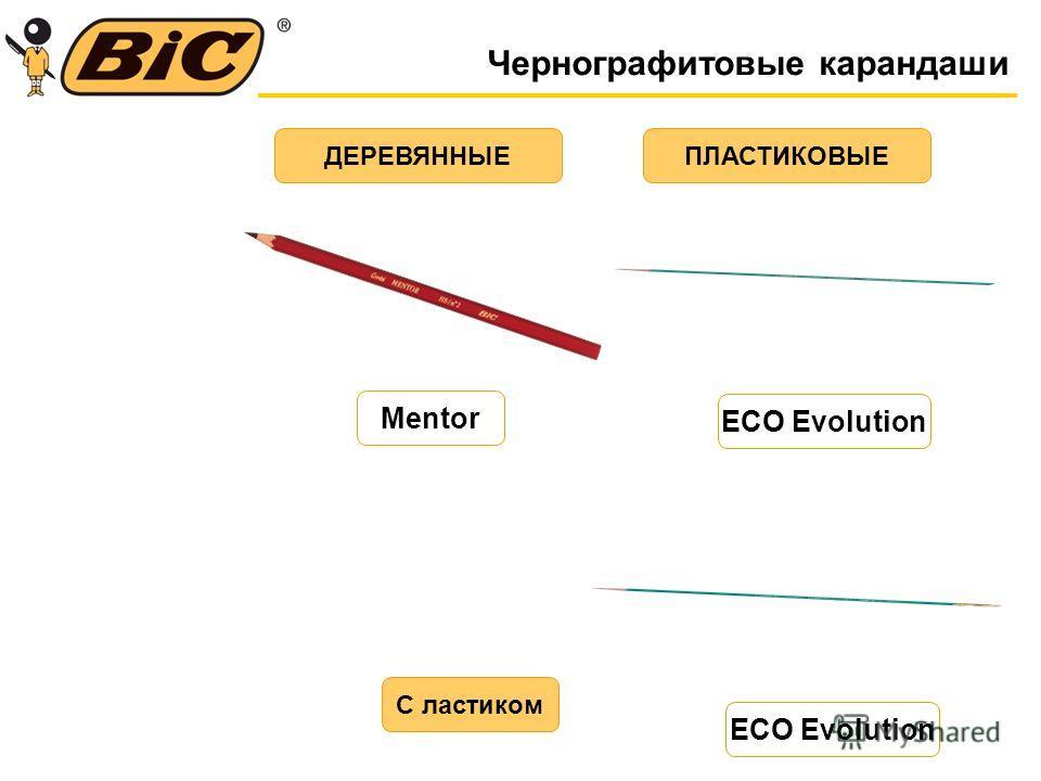 Чернографитовые карандаши ДЕРЕВЯННЫЕПЛАСТИКОВЫЕ С ластиком Mentor ECO Evolution