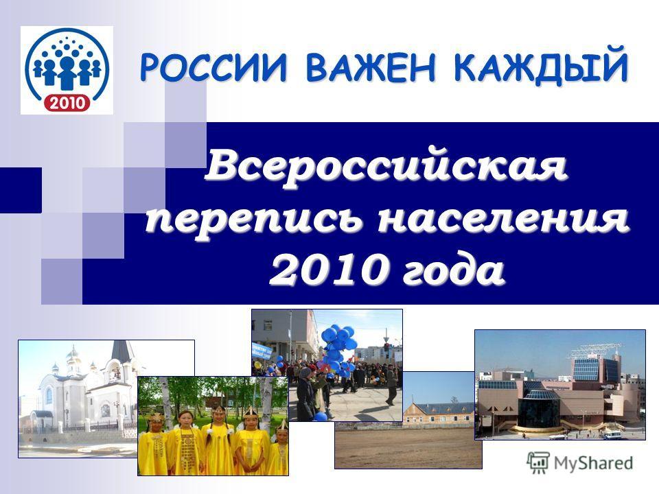 РОССИИ ВАЖЕН КАЖДЫЙ Всероссийская перепись населения 2010 года