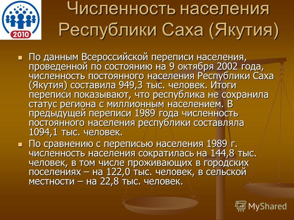 Численность населения Республики Саха (Якутия) По данным Всероссийской переписи населения, проведенной по состоянию на 9 октября 2002 года, численность постоянного населения Республики Саха (Якутия) составила 949,3 тыс. человек. Итоги переписи показы