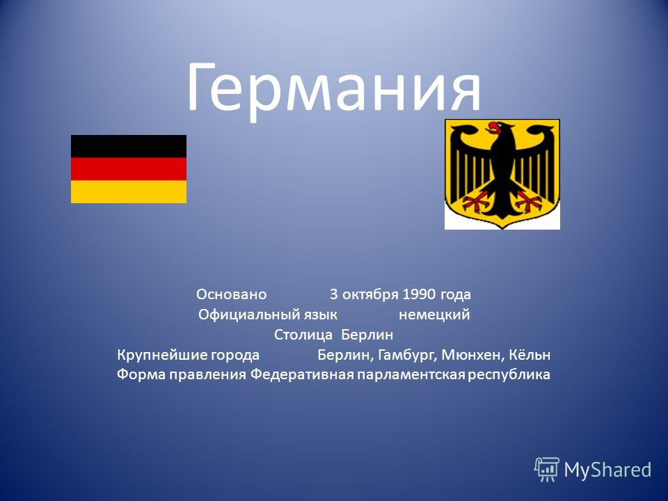 Германия Основано3 октября 1990 года Официальный языкнемецкий СтолицаБерлин Крупнейшие городаБерлин, Гамбург, Мюнхен, Кёльн Форма правленияФедеративная парламентская республика