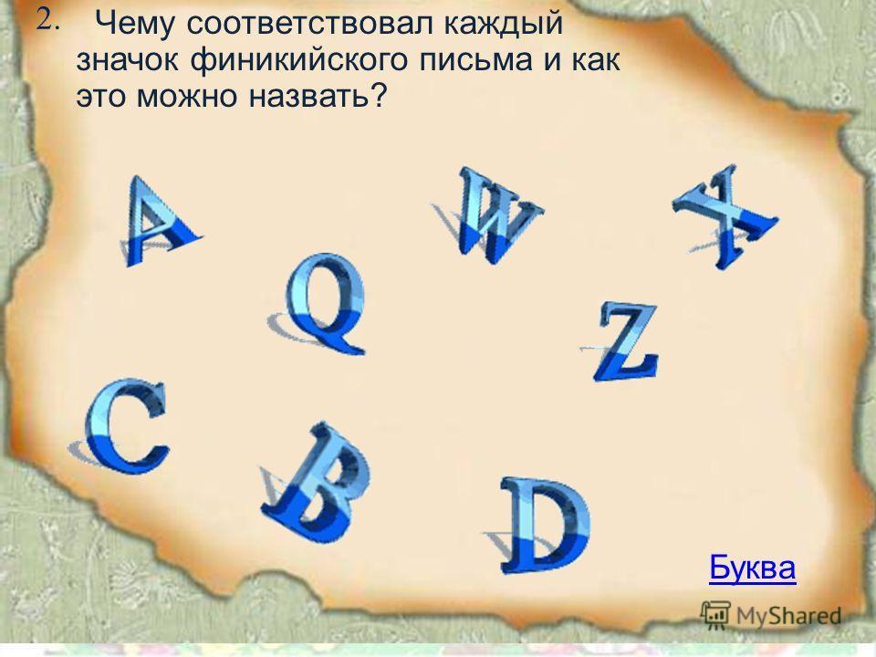 2. Буква Чему соответствовал каждый значок финикийского письма и как это можно назвать?