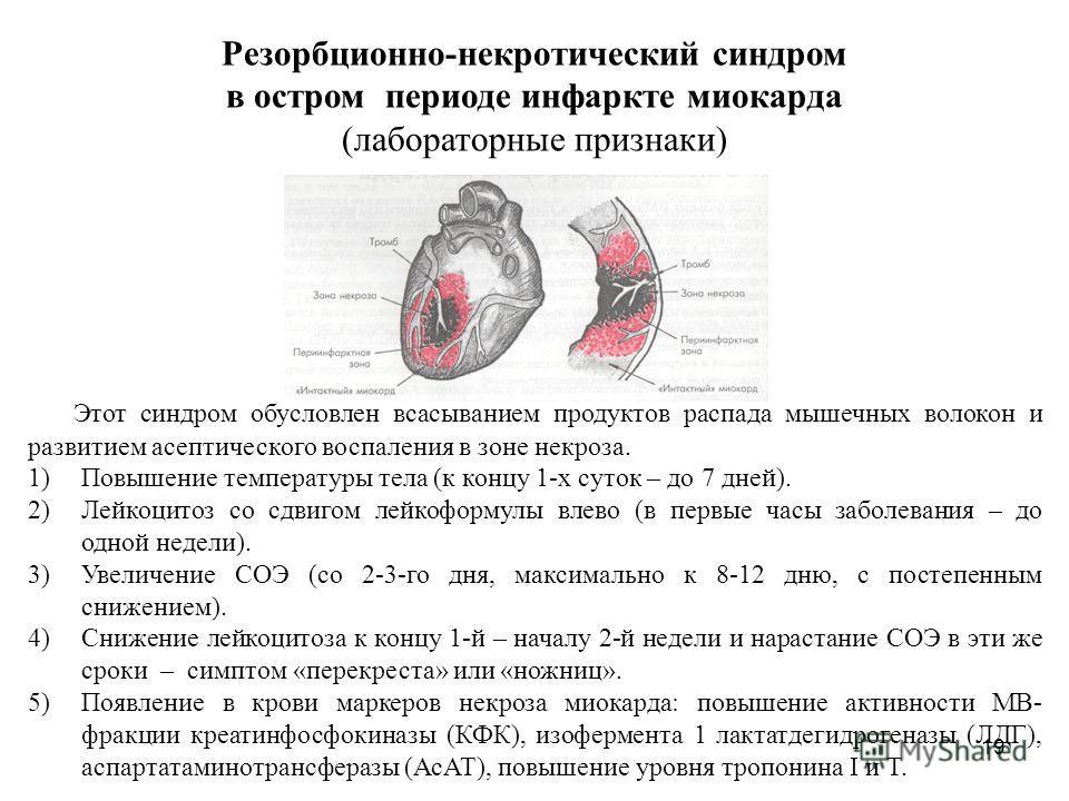 19 Резорбционно-некротический синдром в остром периоде инфаркте миокарда (лабораторные признаки) Этот синдром обусловлен всасыванием продуктов распада мышечных волокон и развитием асептического воспаления в зоне некроза. 1)Повышение температуры тела