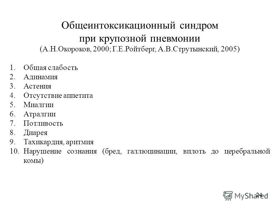 24 Общеинтоксикационный синдром при крупозной пневмонии (А.Н.Окороков, 2000; Г.Е.Ройтберг, А.В.Струтынский, 2005) 1.Общая слабость 2.Адинамия 3.Астения 4.Отсутствие аппетита 5.Миалгии 6.Атралгии 7.Потливость 8.Диарея 9.Тахикардия, аритмия 10.Нарушени