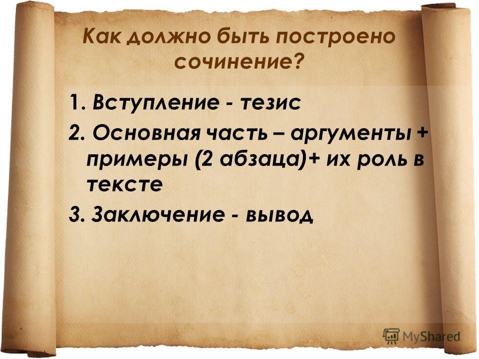 Как должно быть построено сочинение? 1. Вступление - тезис 2. Основная часть – аргументы + примеры (2 абзаца)+ их роль в тексте 3. Заключение - вывод