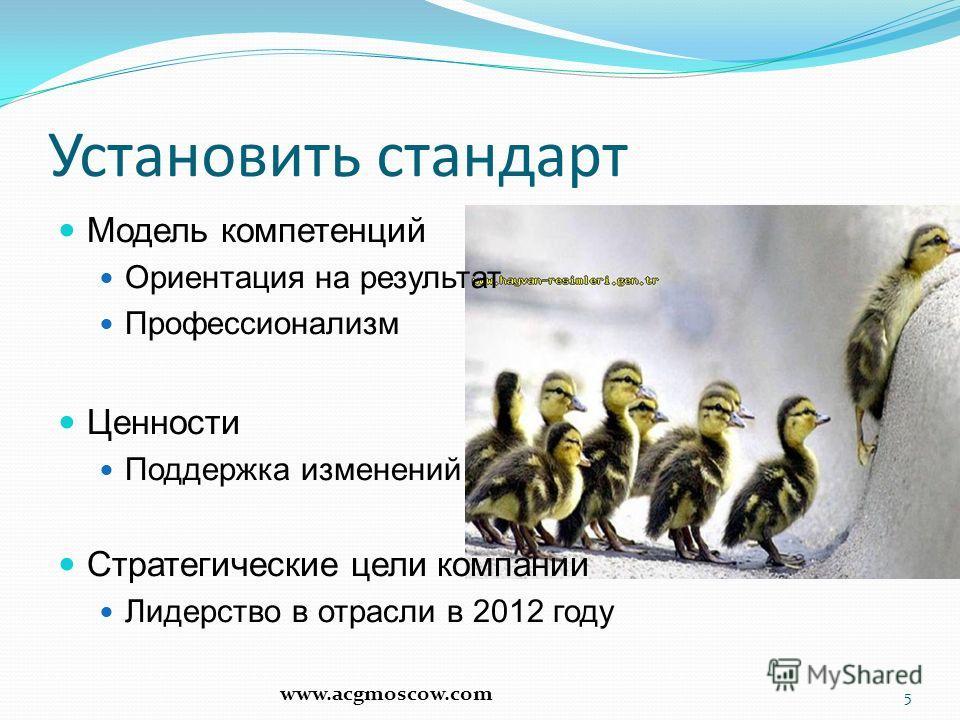 Установить стандарт Модель компетенций Ориентация на результат Профессионализм Ценности Поддержка изменений Стратегические цели компании Лидерство в отрасли в 2012 году 5 www.acgmoscow.com