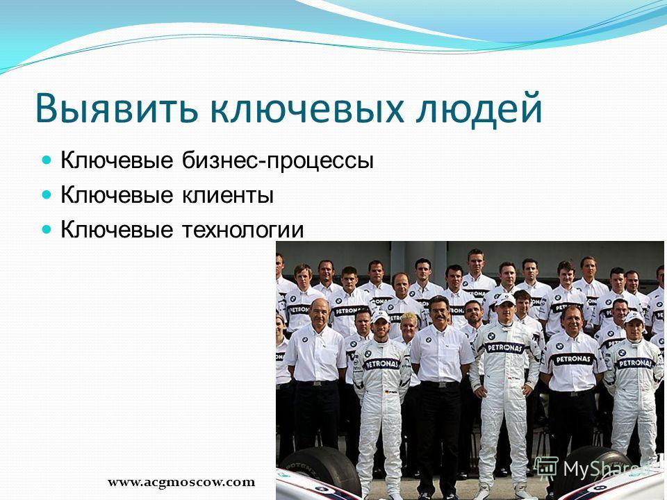Выявить ключевых людей Ключевые бизнес-процессы Ключевые клиенты Ключевые технологии 6 www.acgmoscow.com