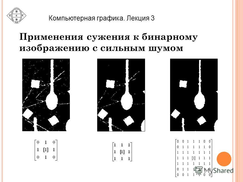 Применения сужения к бинарному изображению с сильным шумом Компьютерная графика. Лекция 3