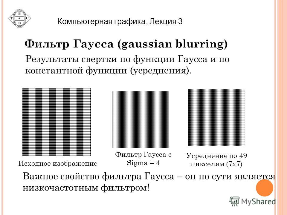Результаты свертки по функции Гаусса и по константной функции (усреднения). Исходное изображение Фильтр Гаусса с Sigma = 4 Усреднение по 49 пикселям (7x7) Важное свойство фильтра Гаусса – он по сути является низкочастотным фильтром! Компьютерная граф
