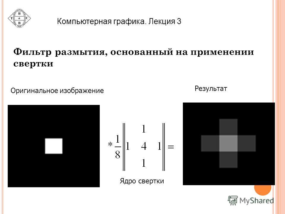 Компьютерная графика. Лекция 3 Фильтр размытия, основанный на применении свертки Оригинальное изображение Ядро свертки Результат