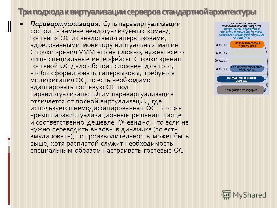 Три подхода к виртуализации серверов стандартной архитектуры Паравиртуализация. Суть паравиртуализации состоит в замене невиртуализуемых команд гостевых ОС их аналогами-гипервызовами, адресованными монитору виртуальных машин. С точки зрения VMM это н
