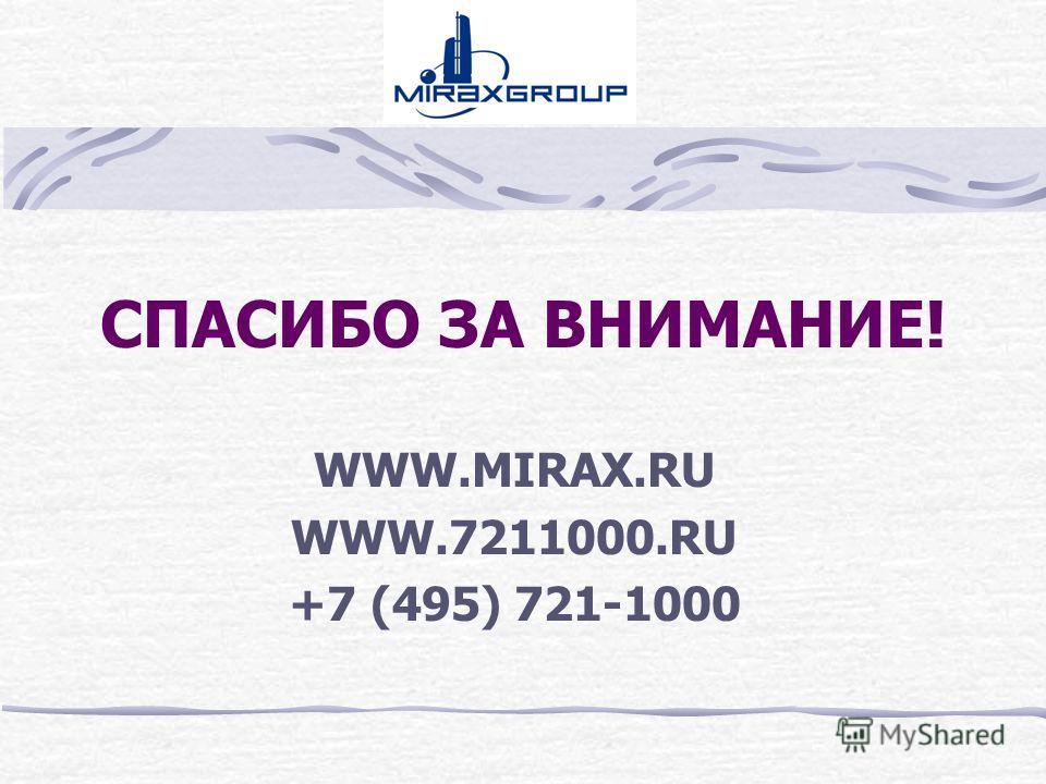 СПАСИБО ЗА ВНИМАНИЕ! WWW.MIRAX.RU WWW.7211000.RU +7 (495) 721-1000