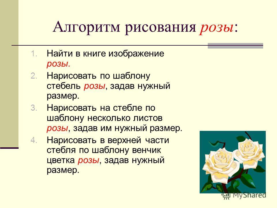 Алгоритм рисования розы: 1. Найти в книге изображение розы. 2. Нарисовать по шаблону стебель розы, задав нужный размер. 3. Нарисовать на стебле по шаблону несколько листов розы, задав им нужный размер. 4. Нарисовать в верхней части стебля по шаблону