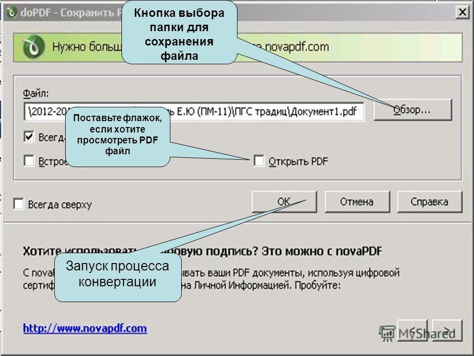 Использование doPDF Кнопка выбора папки для сохранения файла Запуск процесса конвертации Поставьте флажок, если хотите просмотреть PDF файл