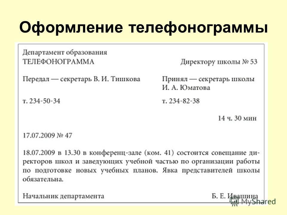 Оформление телефонограммы