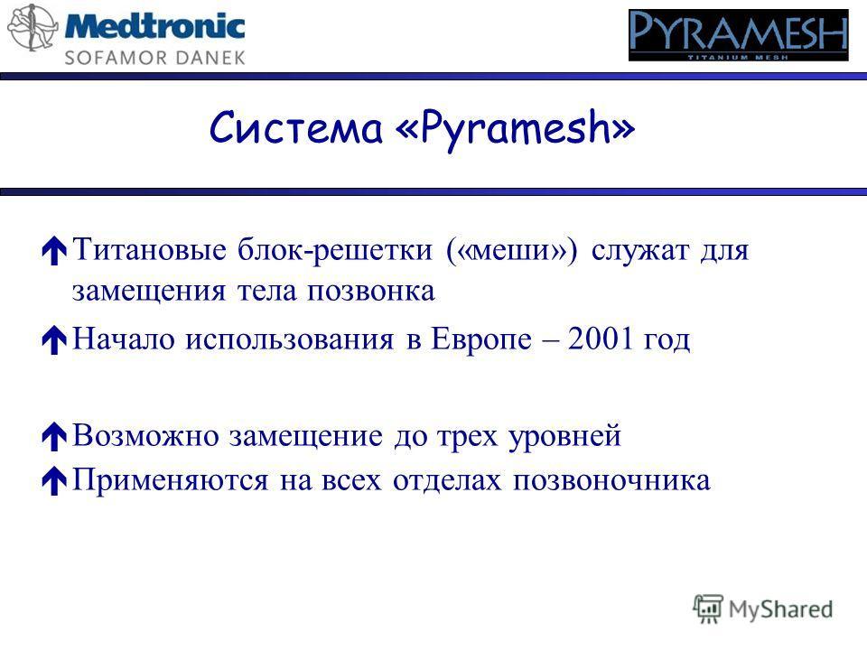 Система «Pyramesh» éТитановые блок-решетки («меши») служат для замещения тела позвонка éНачало использования в Европе – 2001 год éВозможно замещение до трех уровней éПрименяются на всех отделах позвоночника