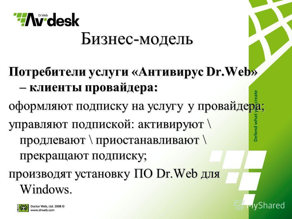 Бизнес-модель Потребители услуги «Антивирус Dr.Web» – клиенты провайдера: оформляют подписку на услугу у провайдера; управляют подпиской: активируют \ продлевают \ приостанавливают \ прекращают подписку; производят установку ПО Dr.Web для Windows.