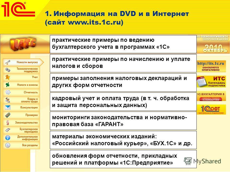 1.Информация на DVD и в Интернет (сайт www.its.1c.ru) практические примеры по ведению бухгалтерского учета в программах «1С» практические примеры по начислению и уплате налогов и сборов примеры заполнения налоговых деклараций и других форм отчетности