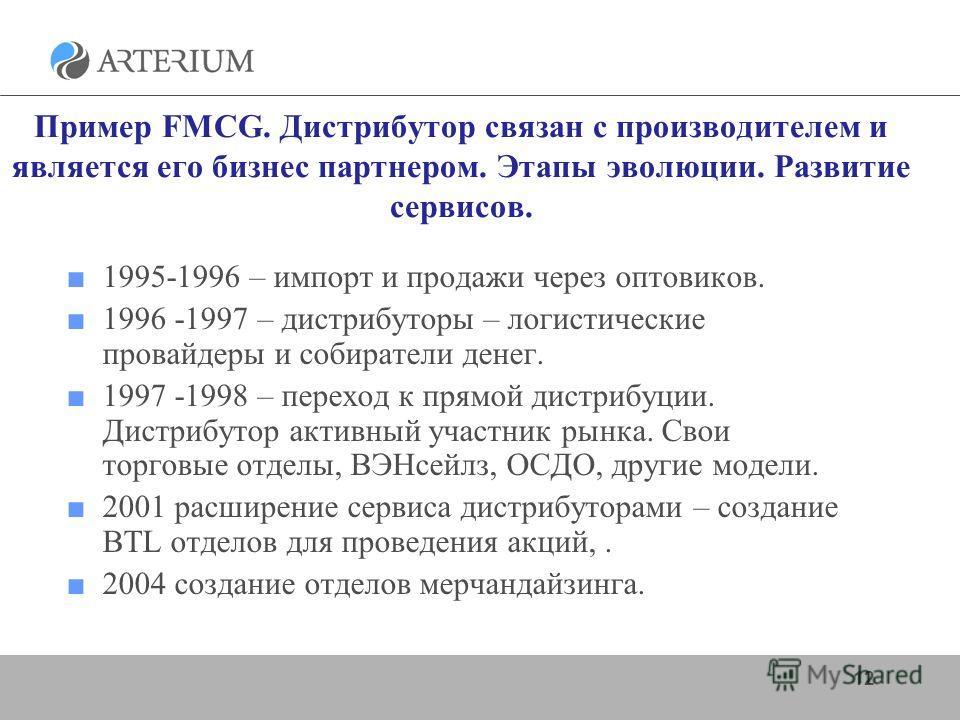 Пример FMCG. Дистрибутор связан с производителем и является его бизнес партнером. Этапы эволюции. Развитие сервисов. 1995-1996 – импорт и продажи через оптовиков. 1996 -1997 – дистрибуторы – логистические провайдеры и собиратели денег. 1997 -1998 – п