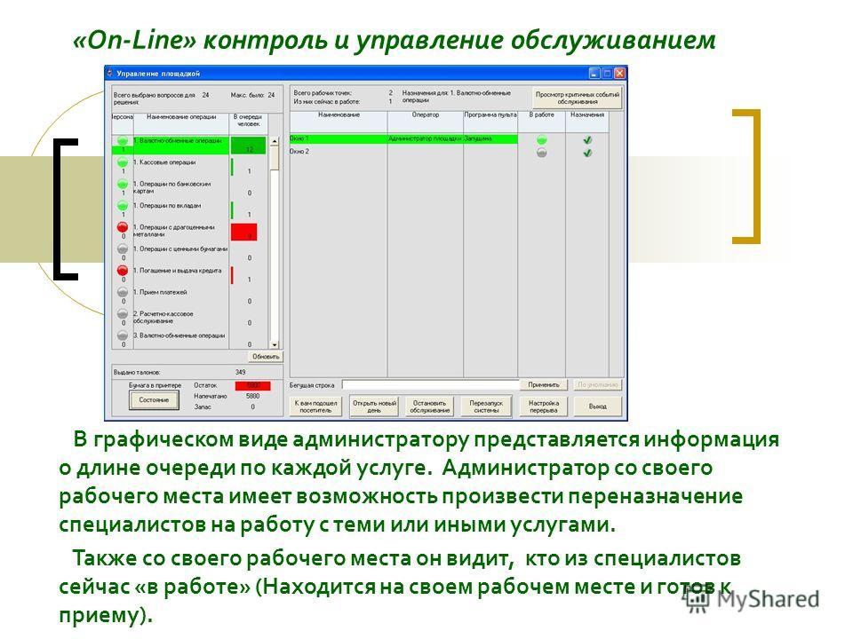 «On-Line» контроль и управление обслуживанием В графическом виде администратору представляется информация о длине очереди по каждой услуге. Администратор со своего рабочего места имеет возможность произвести переназначение специалистов на работу с те