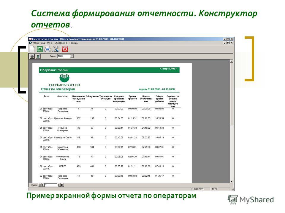 Пример экранной формы отчета по операторам Система формирования отчетности. Конструктор отчетов.