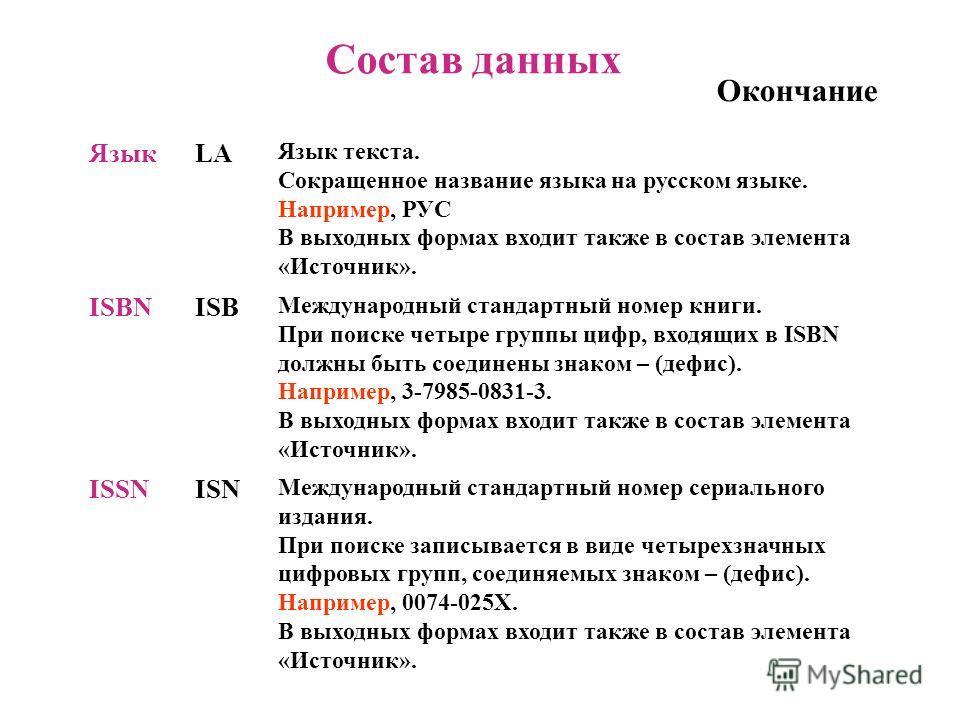 Состав данных Окончание ЯзыкLA Язык текста. Сокращенное название языка на русском языке. Например, РУС В выходных формах входит также в состав элемента «Источник». ISBNISB Международный стандартный номер книги. При поиске четыре группы цифр, входящих
