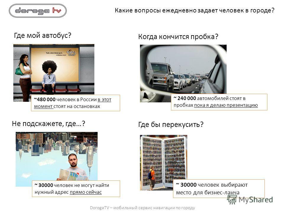 DorogaTV – мобильный сервис навигации по городу Где мой автобус? Какие вопросы ежедневно задает человек в городе? Когда кончится пробка? Не подскажете, где…? Где бы перекусить? ~480 000 человек в России в этот момент стоят на остановках ~ 240 000 авт
