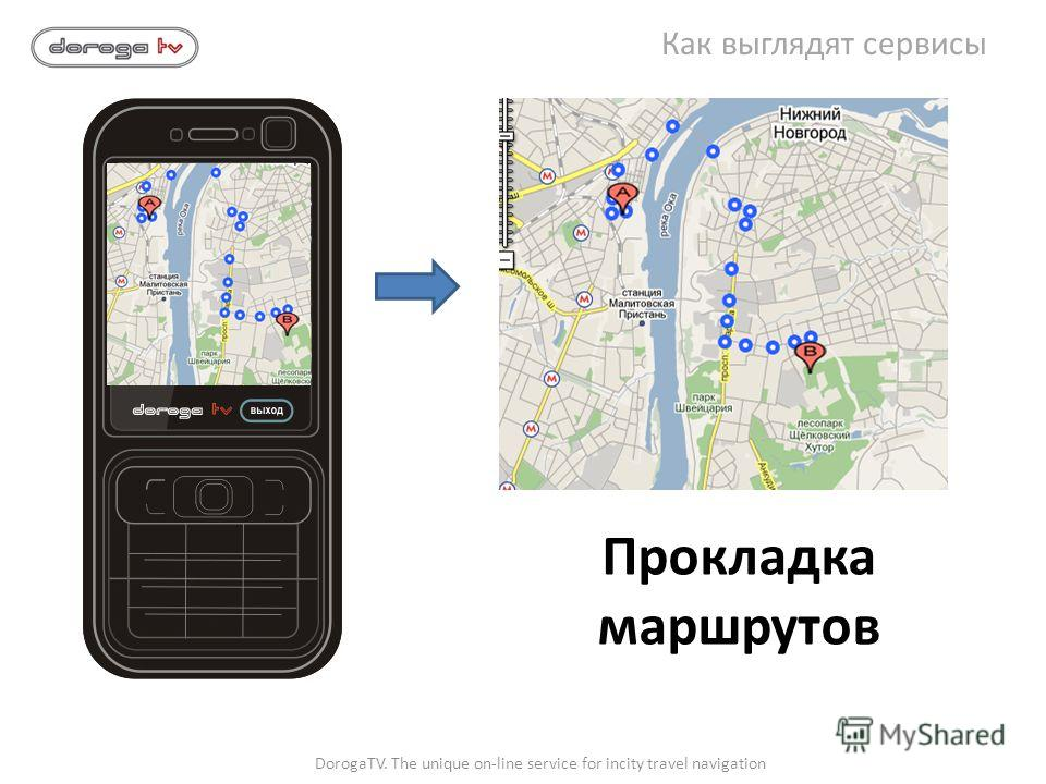 Прокладка маршрутов DorogaTV. The unique on-line service for incity travel navigation Как выглядят сервисы