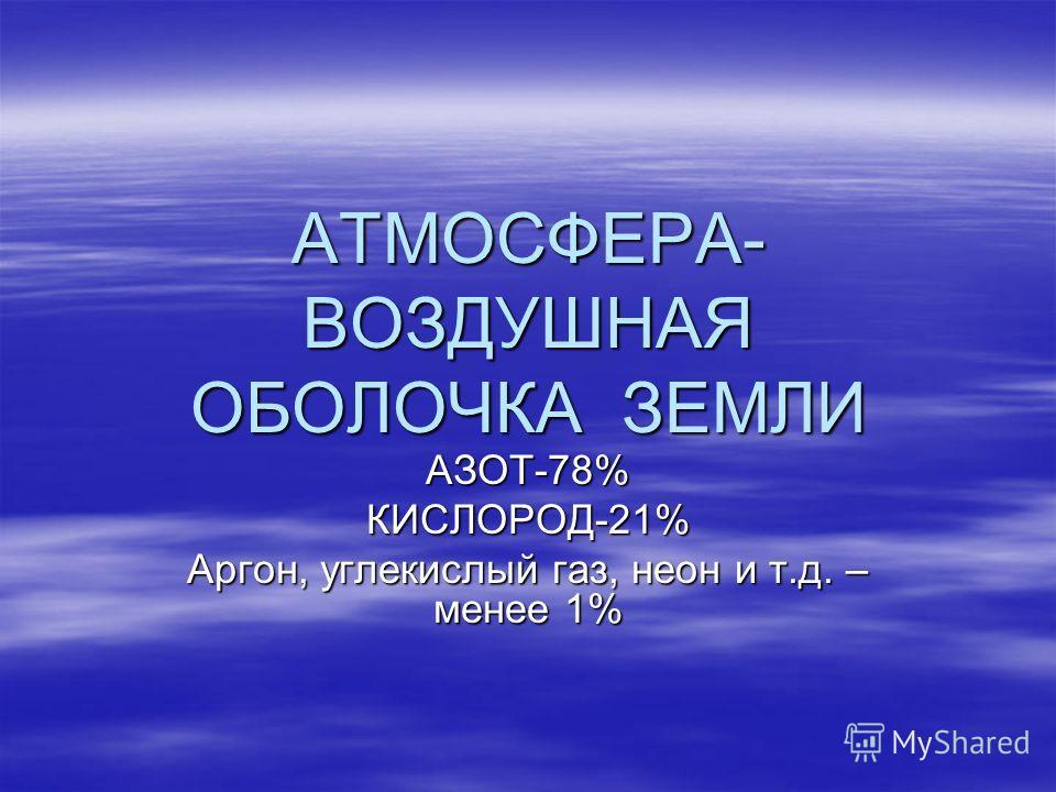 АТМОСФЕРА- ВОЗДУШНАЯ ОБОЛОЧКА ЗЕМЛИ АЗОТ-78%КИСЛОРОД-21% Аргон, углекислый газ, неон и т.д. – менее 1%