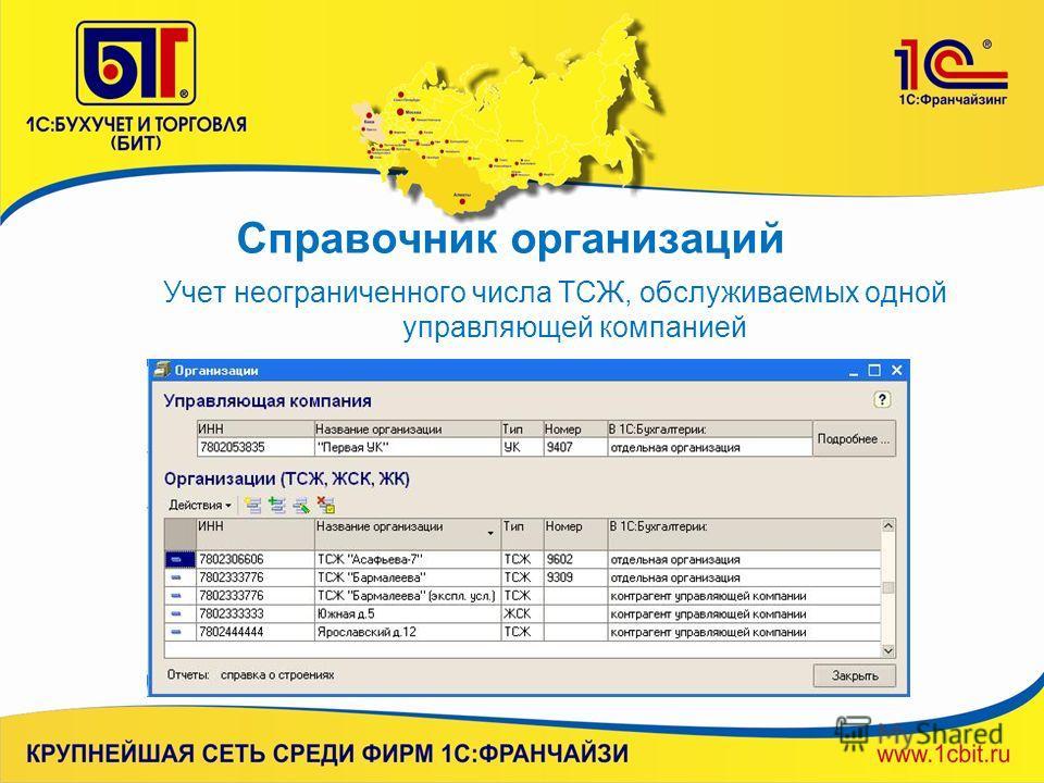 Справочник организаций Учет неограниченного числа ТСЖ, обслуживаемых одной управляющей компанией