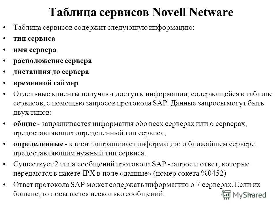 19 Таблица сервисов Novell Netware Таблица сервисов содержит следующую информацию: тип сервиса имя сервера расположение сервера дистанция до сервера временной таймер Отдельные клиенты получают доступ к информации, содержащейся в таблице сервисов, с п