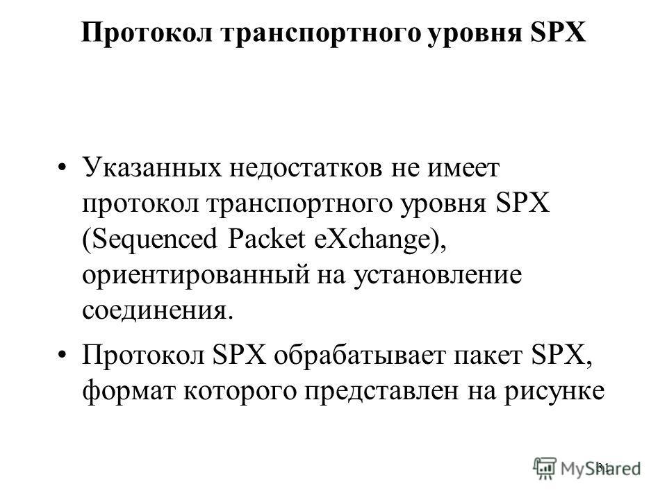31 Протокол транспортного уровня SPX Указанных недостатков не имеет протокол транспортного уровня SPX (Sequenced Packet eXchange), ориентированный на установление соединения. Протокол SPX обрабатывает пакет SPX, формат которого представлен на рисунке
