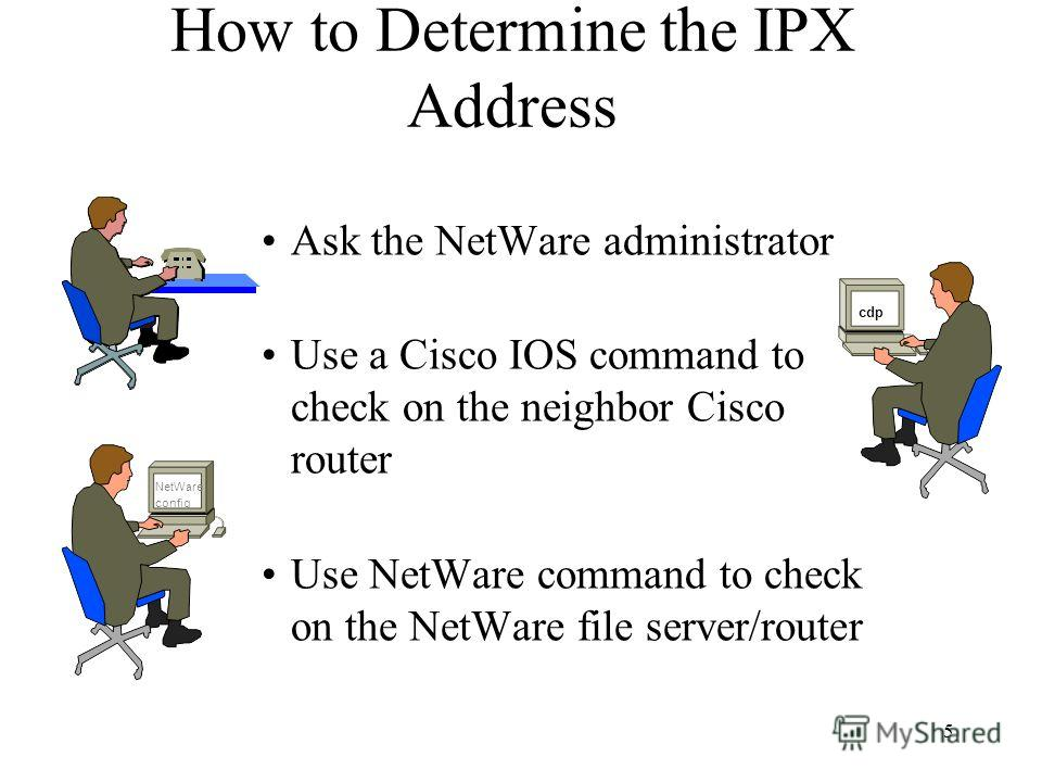 5 How to Determine the IPX Address Ask the NetWare administrator Use a Cisco IOS command to check on the neighbor Cisco router Use NetWare command to check on the NetWare file server/router NetWare config cdp