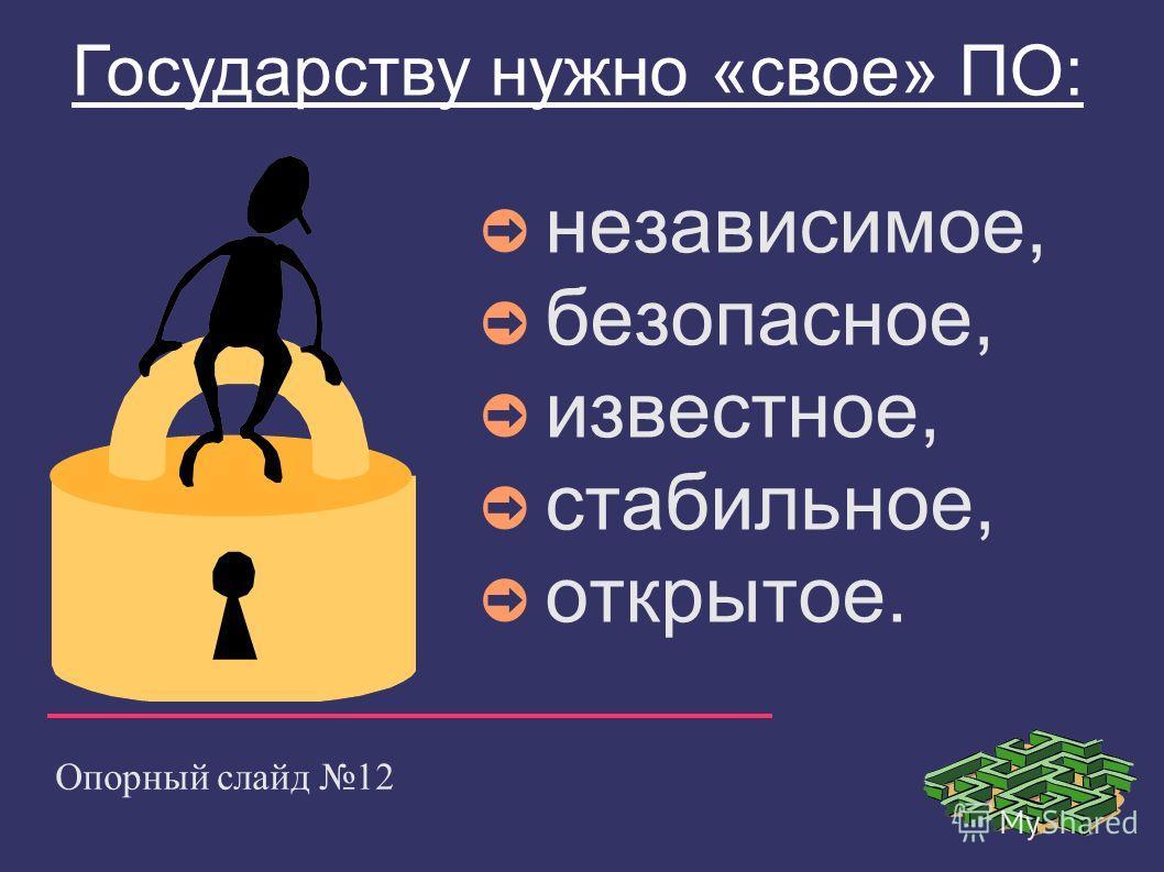 Опорный слайд 12 Государству нужно «свое» ПО: независимое, безопасное, известное, стабильное, открытое.