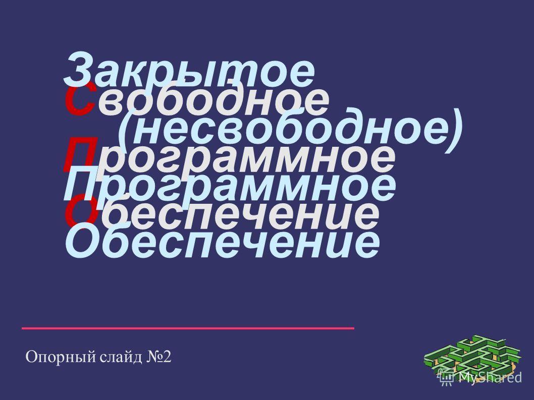 Свободное Программное Обеспечение Опорный слайд 2 Закрытое (несвободное) Программное Обеспечение
