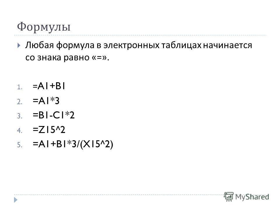 Формулы Любая формула в электронных таблицах начинается со знака равно «=». 1. =A1+B1 2. =A1*3 3. =B1-C1*2 4. =Z15^2 5. =A1+B1*3/(X15^2)