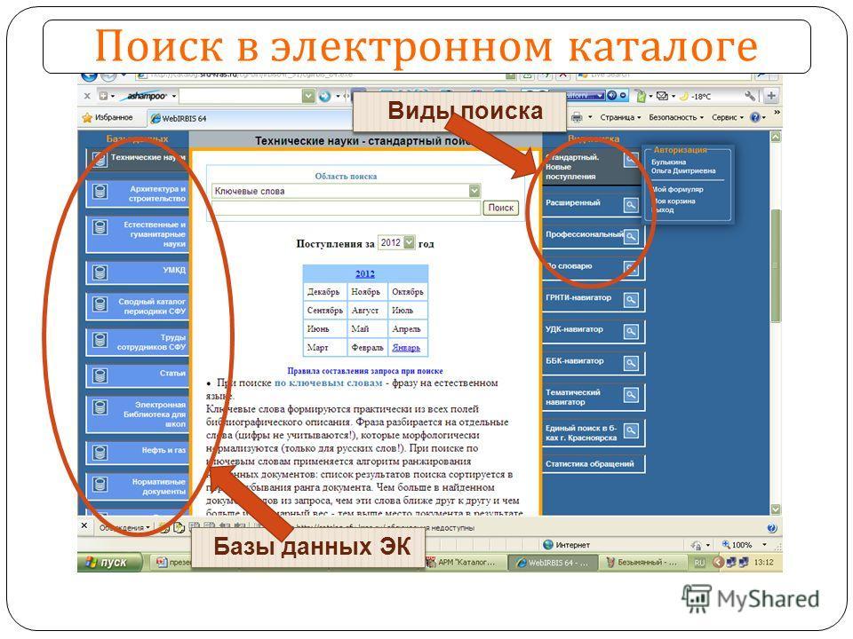 Поиск в электронном каталоге Базы данных ЭК Виды поиска