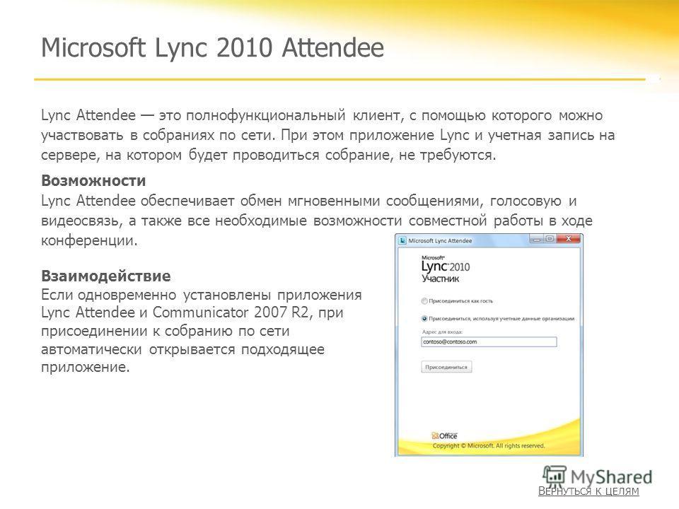 Microsoft Lync 2010 Attendee Lync Attendee это полнофункциональный клиент, с помощью которого можно участвовать в собраниях по сети. При этом приложение Lync и учетная запись на сервере, на котором будет проводиться собрание, не требуются. Возможност
