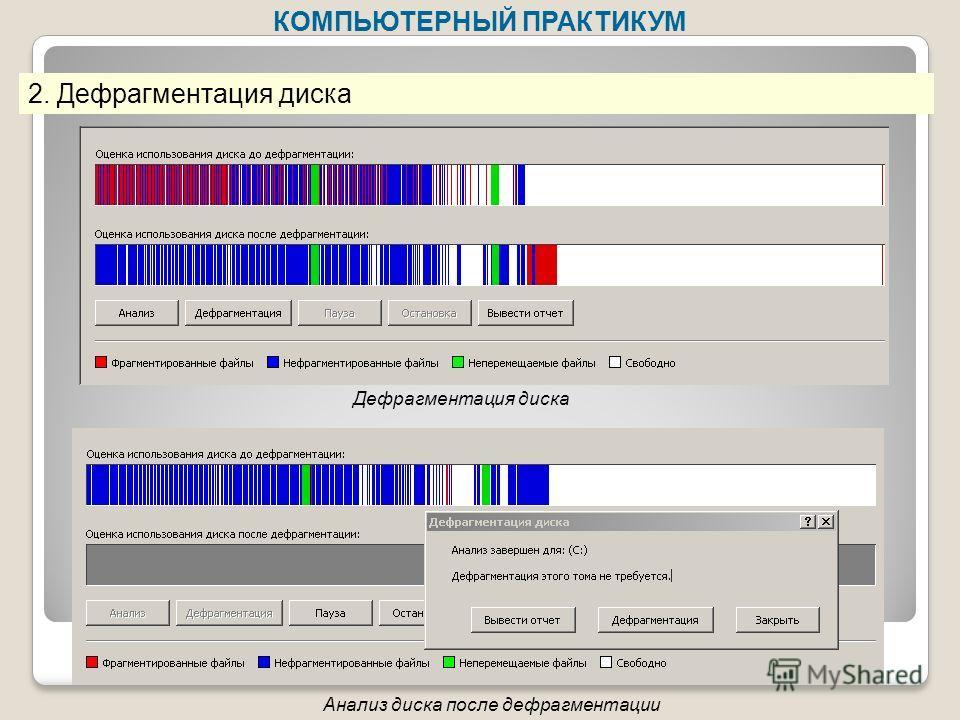 КОМПЬЮТЕРНЫЙ ПРАКТИКУМ 2. Дефрагментация диска Дефрагментация диска Анализ диска после дефрагментации