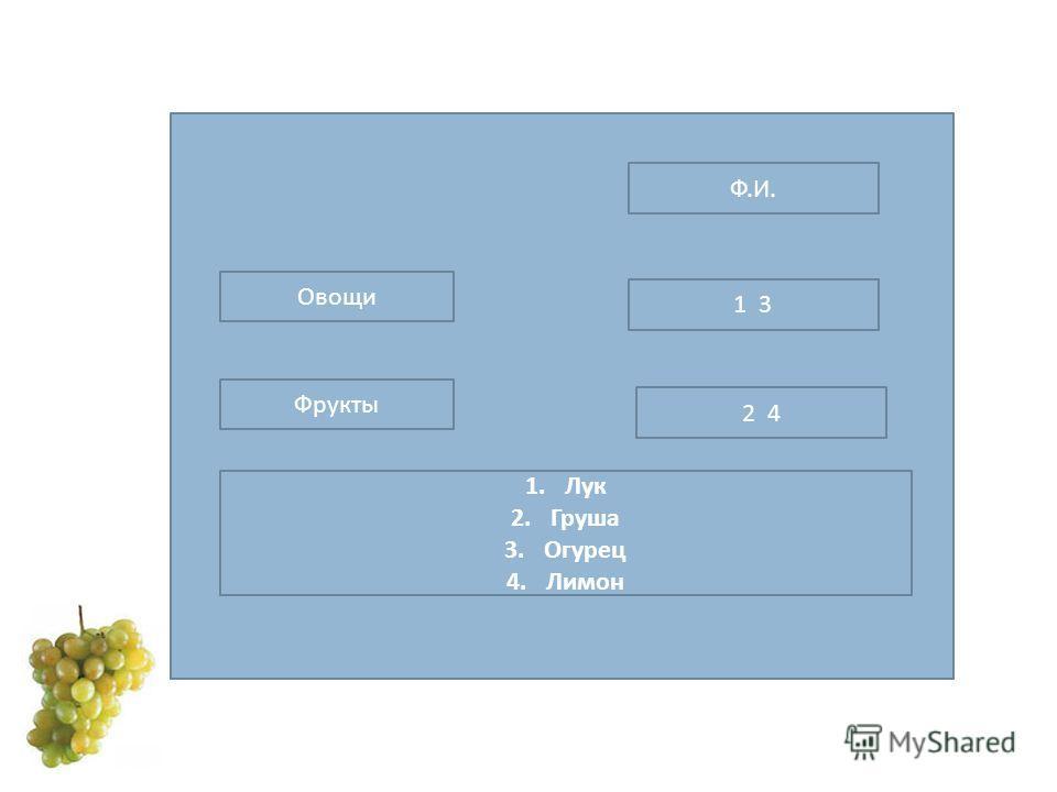 Ф.И.Ф.И. Овощи Фрукты 1. Лук 2. Груша 3. Огурец 4. Лимон 1 3 2 4