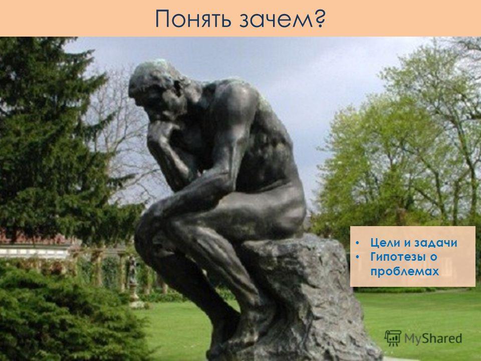 Цели и задачи Гипотезы о проблемах Понять зачем?